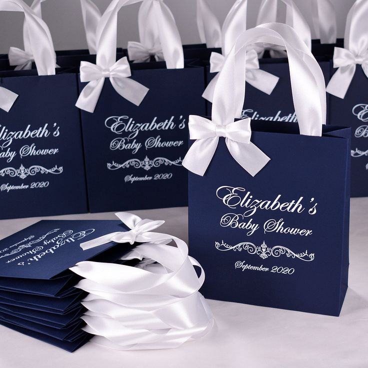 25 Baby Shower treat bags with satin ribbon handles bow