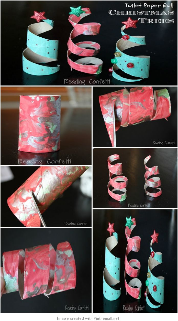 Toilet Paper Roll Christmas Trees #kids #craft Missy ,I thought of you and the kiddies when I saw this..;D