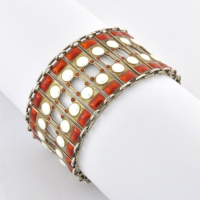 Aksel Holmsen Modernist Sterling Silver and Enamel Bracelet