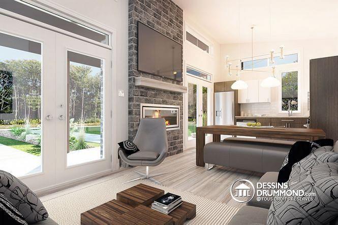 Vue intérieure Maison contemporaine ou chalet moderne à bon prix, 2 chambres, buanderie, air ouverte avec foyer, grand balcon - Bonzai