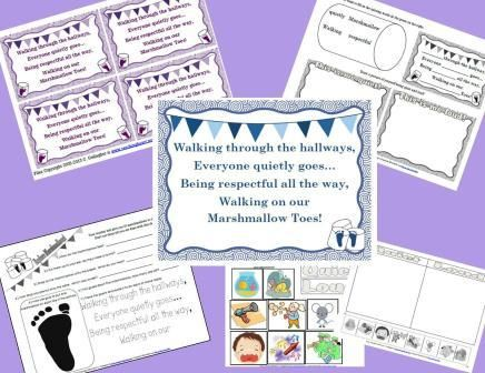 Marshmallow Toes Ideas - Teaching Quiet Hallway Behavior during school transition time.  Back To School - Ideas, Lessons, Printables, Plans
