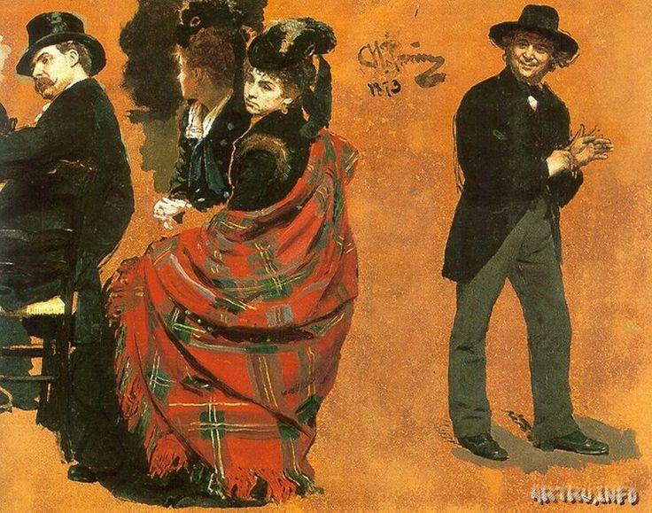 """Мужчина и женщина за столиком. Мужчина, натягивающий перчатку. Этюды к картине """"Парижское кафе""""."""