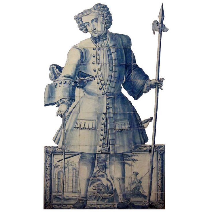 """18th Century Portuguese Azulejos, """"Figura de Convite"""""""