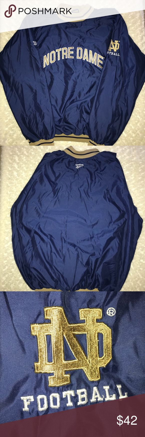 Vintage Men's Reebok Notre Dame pullover XL Vintage men's Reebok Notre Dame football pullover sweatshirt, size XL, gently used excellent condition no stains, holes, or pulls. Lined interior Reebok Jackets & Coats Windbreakers