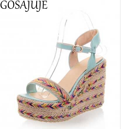 GOSAJUJE 2017summer new women wedges sandals european style fashion sexy women high heel 32 33student shoes large size 42 43 hot