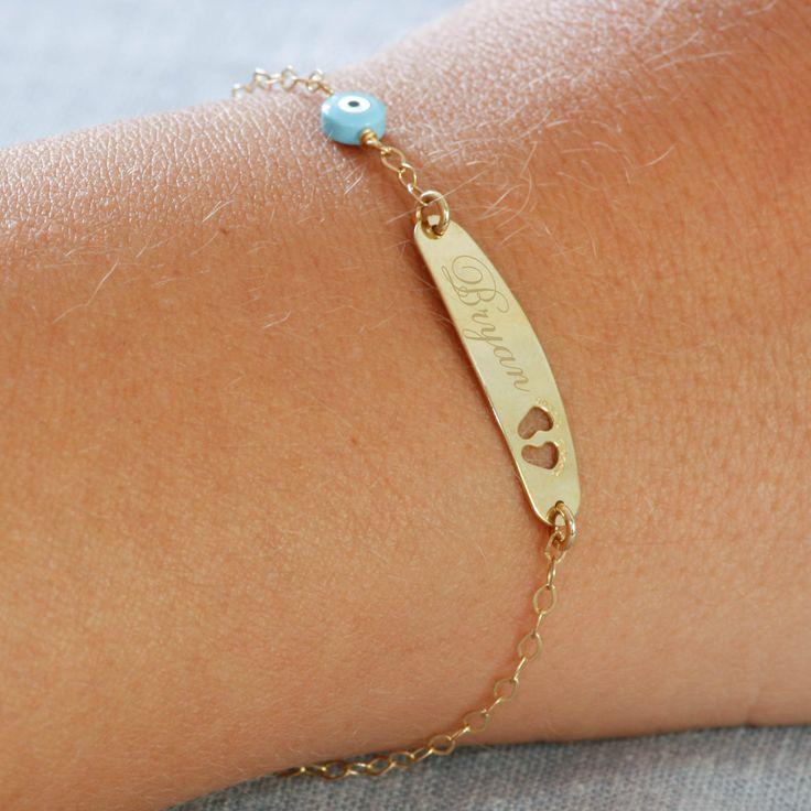Children's bracalet, baby jewelry 14k gold, custom gold bracelet for kids, infant bracelet, christening gold gifts, baby boy jewelry, by KyklosJewelryLab on Etsy