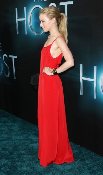 Francesca Eastwood wears the Powell Slip Dress in rouge. <3