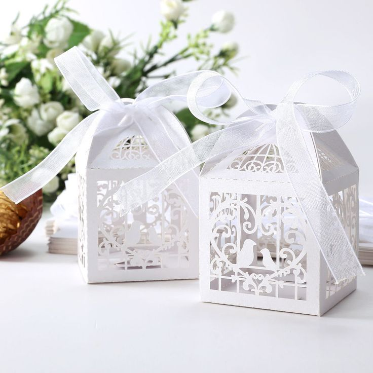 50pcs Love Heart Bird Laser Cut Party Wedding Favor Candy Gift Boxes With Ribbon #Unbranded