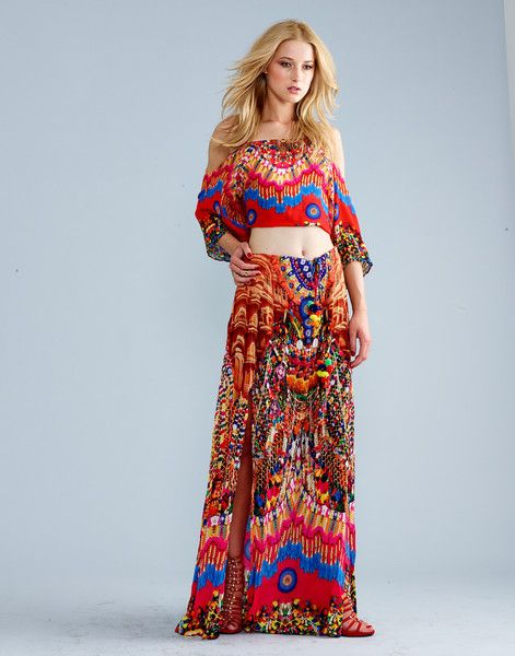 Shahida Parides Heritage Skirt and Crop Top Set -  The beautiful red print will get you compliments all day long, and the beaded and crystal adornments on the top and drawstring add a luxurious touch to this high end dress. #shahidaparides