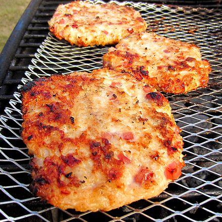 Grilled Ham & Cheese Chicken Burgers