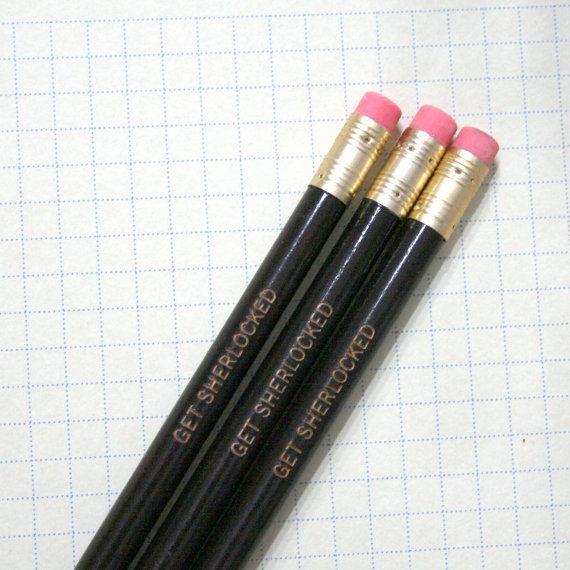 get sherlocked 3 three black engraved pencils.