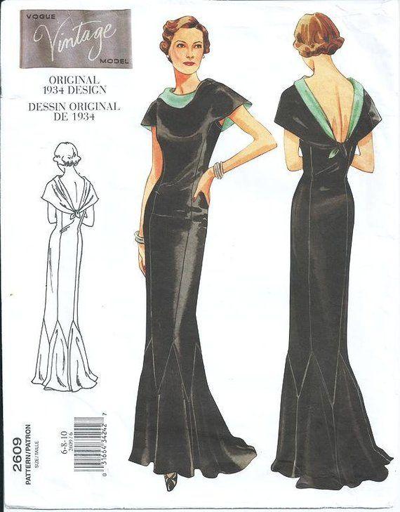 7b942b8abd85a Vogue 2609 Vintage 1934 Original Design - Evening Gown - Retired Vouge  1930's - Red Carpet