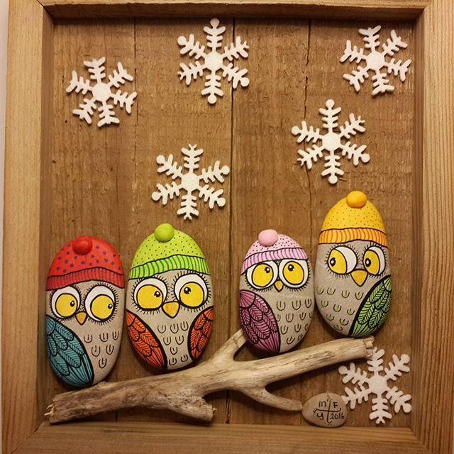 Bırrrr çok soğuk... Very cold winter... #taşboyama #stonepainting #rockpainting #pebblepainting #pebbleart #piedraspintadas #sassidipinti #owls