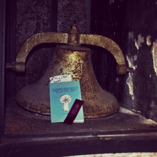 About to ring the old lighthouse bell. Each Allister book is registered at BookCrossing.com, a site dedicated to the idea of sending books on journeys. We're posting each dropped book's whereabouts on Twitter @AllisterCromley and on Instagram at allistercromley (go ahead and give them a follow, if'n you like).