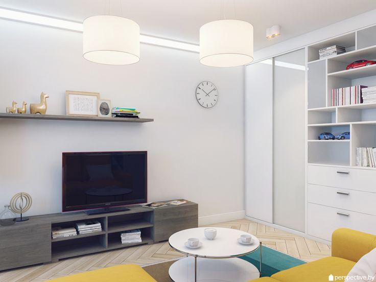 Центральный элемент гостиной – подвесные светильники. В зоне шкафа и у окна мы предусмотрели точечное акцентное освещение, а по стене с телевизором монтировали угловой светодиодный профиль.
