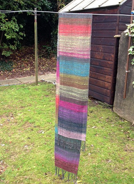 Handwoven Rainy Day Rainbow Noro Scarf  blend of by PennanPicks