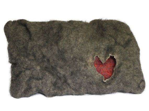 Decorative wool cushion Heart by PracowniaOsobliwosci on Etsy