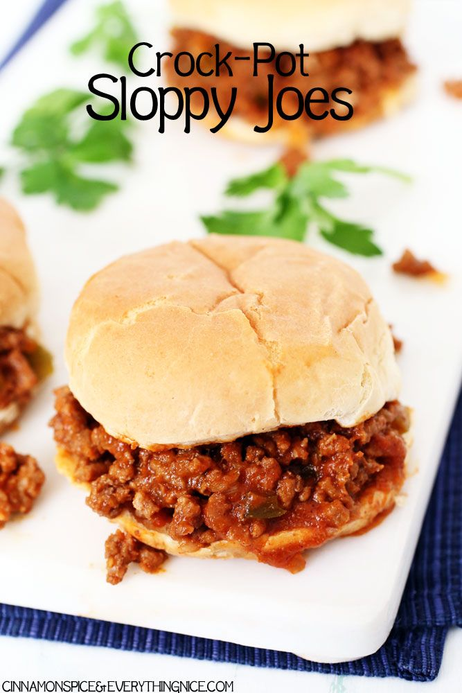 Easy homemade sloppy joes cooked in your crock-pot! Because everyone loves sloppy joe night.