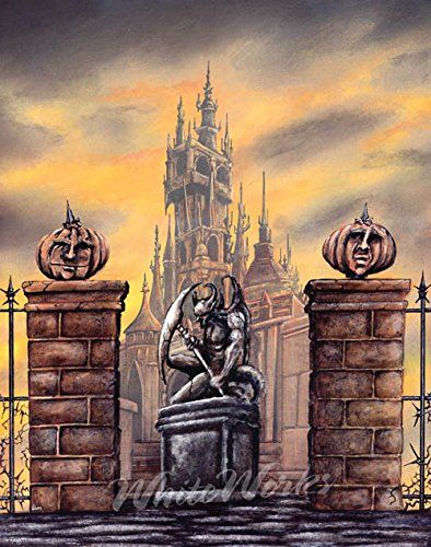 """The Gates of All Hallows Eve> The guardians of the keep are watching and waiting! Welcome to the world of Nick White - contemporary fantasy painter. The Gates of All Hallows Eve> Welcome to the world of Nick White - contemporary fantasy painter. Each reproduction is a giclée print on glossy 8 1/2 x 11 photo paper with an approximate print area of 8"""" x 10"""". Print has a white border around it, suitable for matting. As a photographic reproduction, you will need to frame this print behind…"""