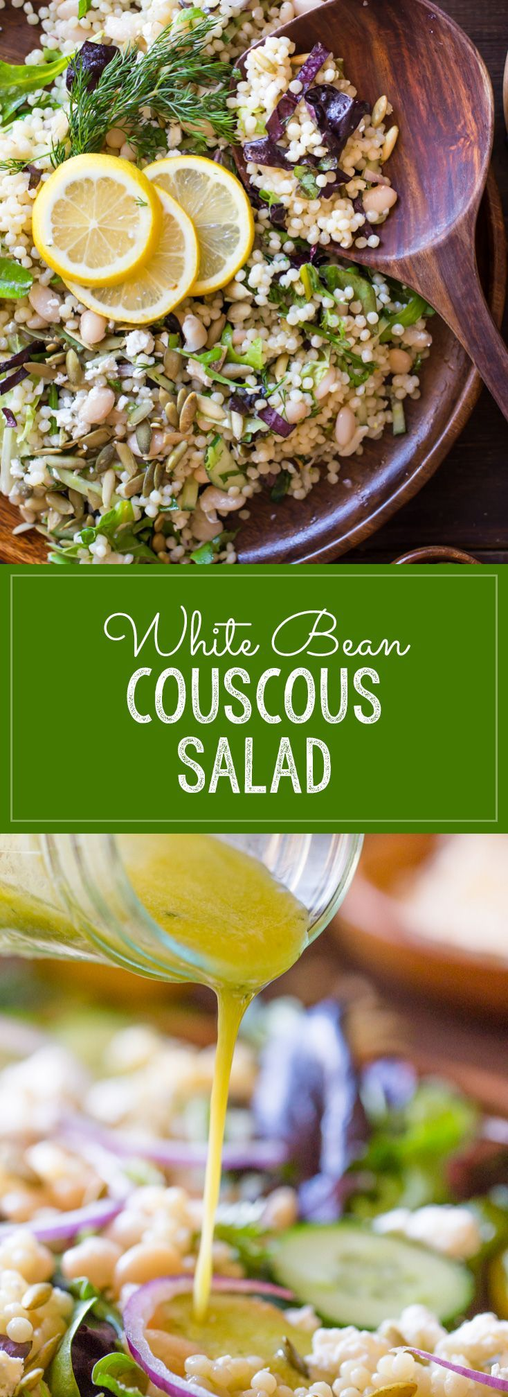 White Bean Couscous Salad With Lemon Vinaigrette - Baby greens, Israeli couscous, feta, dill, white beans, cucumber and pepitas make this salad light, fresh and healthy! | Lovely Little Kitchen