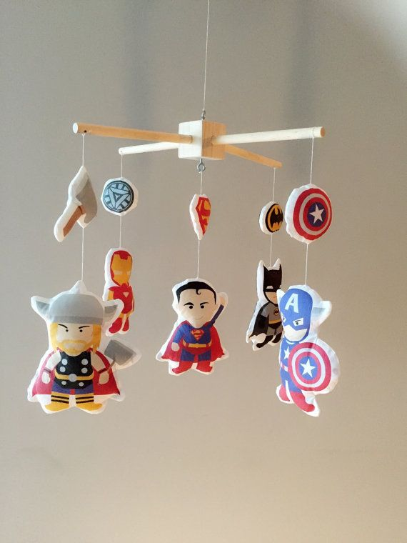 Customobiles - your one stop shop for all your nursery decoration needs!    This listing is for: Baby Mobile - Crib Mobile - Super Hero Mobile -