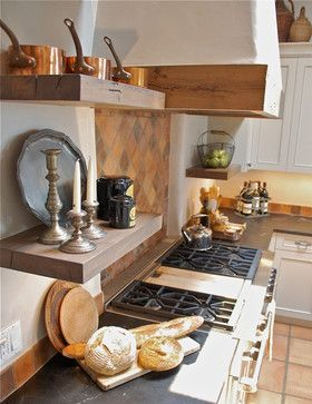 Santa Fe Kitchen  White Plaster Walls, Saltillo Backsplash And Floor    Timeless Rustic Country
