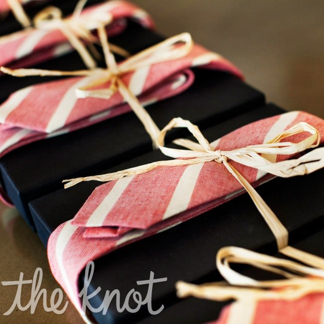 love the idea of wrapping groomsmen gifts with the ties they'll wear on the wedding day