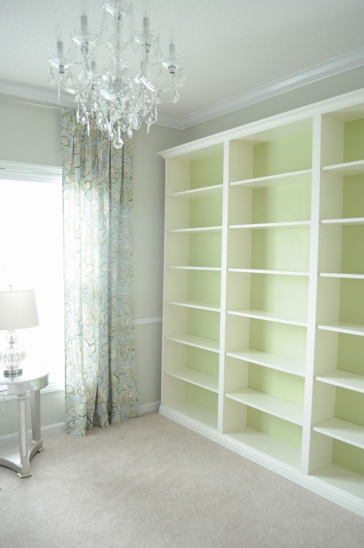 """Not So Newlywed McGees: """"Built-in"""" Bookshelves - Ikea Billy hack, trim painted Valspar Dove White"""