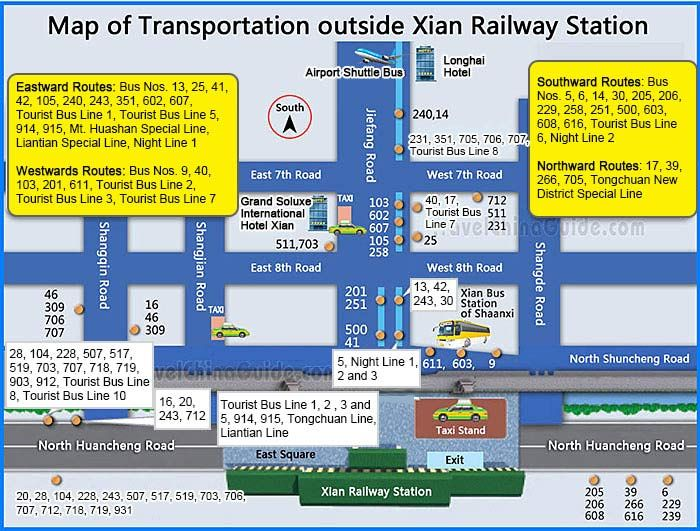 Map Of Transportation Outside Xi An Railway Station China Beijing Subway Map Tourist Map Xi An