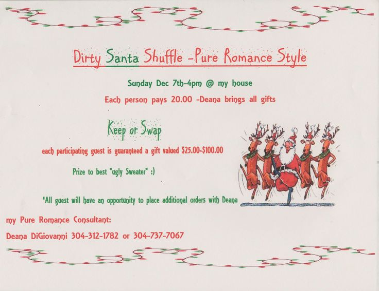24 best Dirty Santa Shuffle -Pure Romance Party-Sunday Dec 7th ...