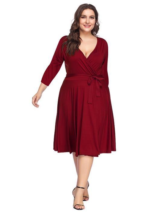 Wine Red Plus Size Skater Dress   Plus Size Dress   Plus size skater ...