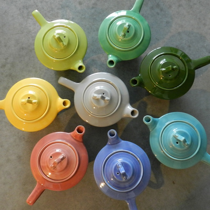 This is a color wheel of Harlequin teapots from my personal collection. I love the colors of pottery from the 40's! #color