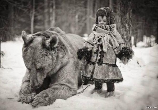 Vintage photo - Russian child with bear