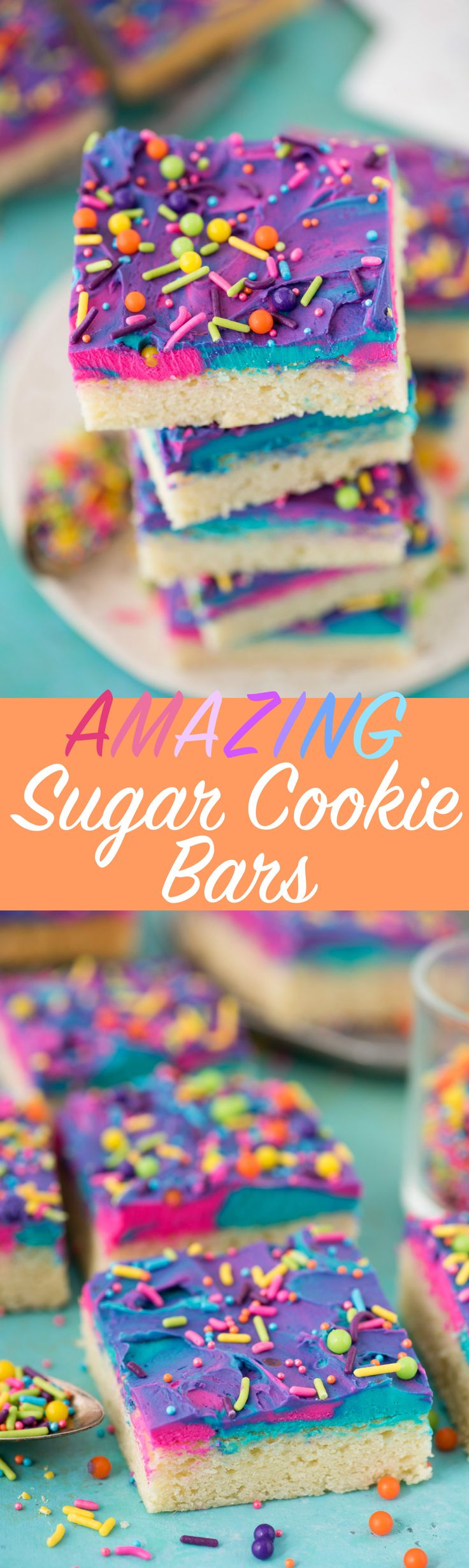 The best sugar cookie bars to serve at a party! We love making the tri-color frosting, it gets lots of rave reviews!