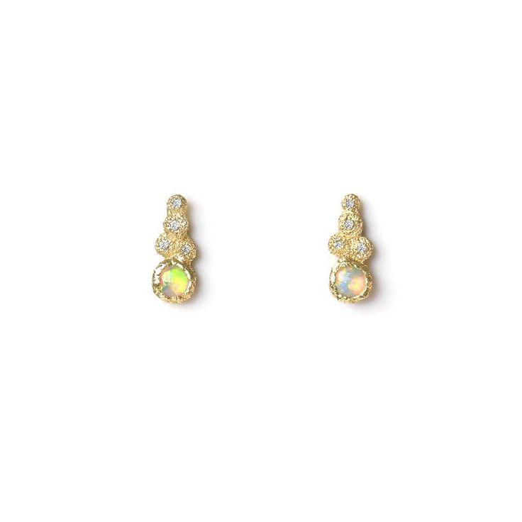 Mini Meteorite Studs. Opal, Sapphire