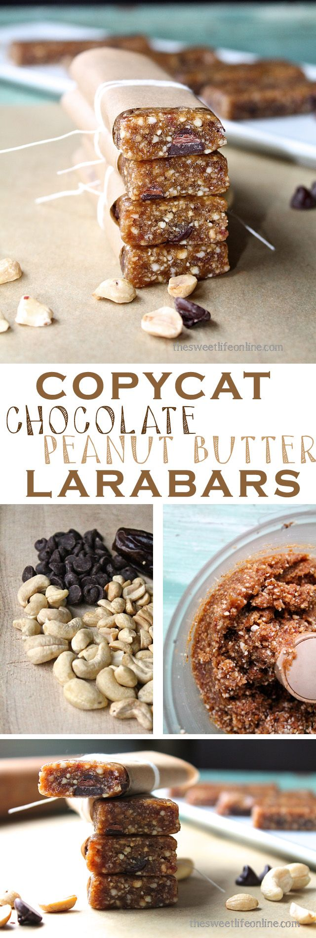 """These homemade Chocolate Chip Peanut Butter """"Larabars"""" are super simple to make and incredibly delicious. Click the photo for the full recipe!"""