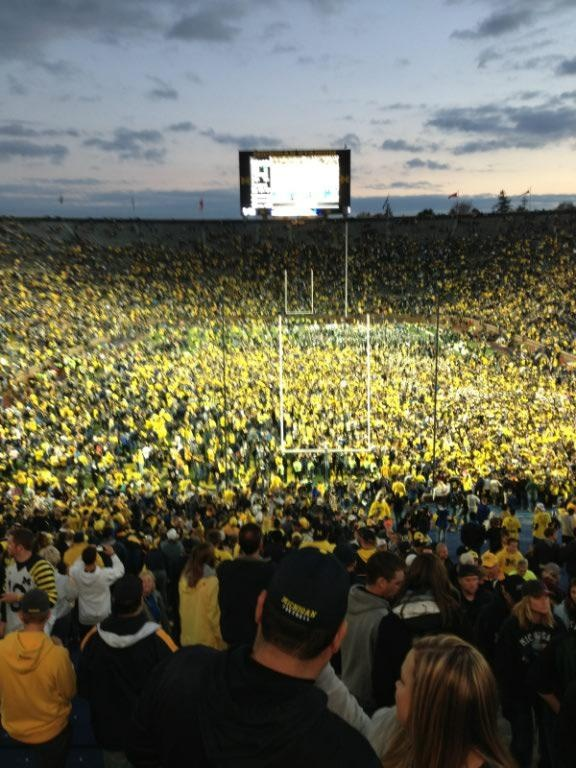 Storming the field after the Michigan-Michigan State game -- 900th win for Michigan. GO BLUE!!!!