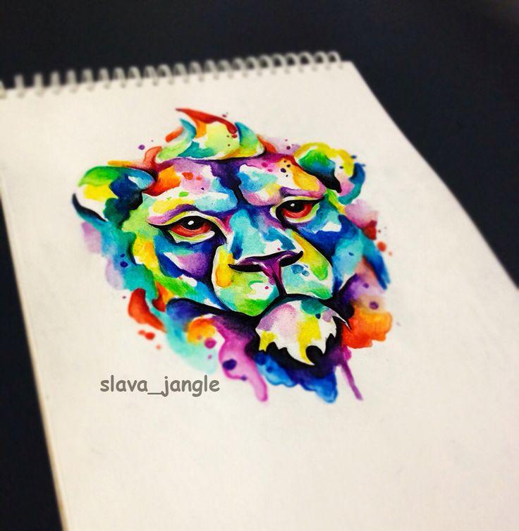 акварельный лев, эскиз татуировки. watercolortattoo sketch lion. animal.
