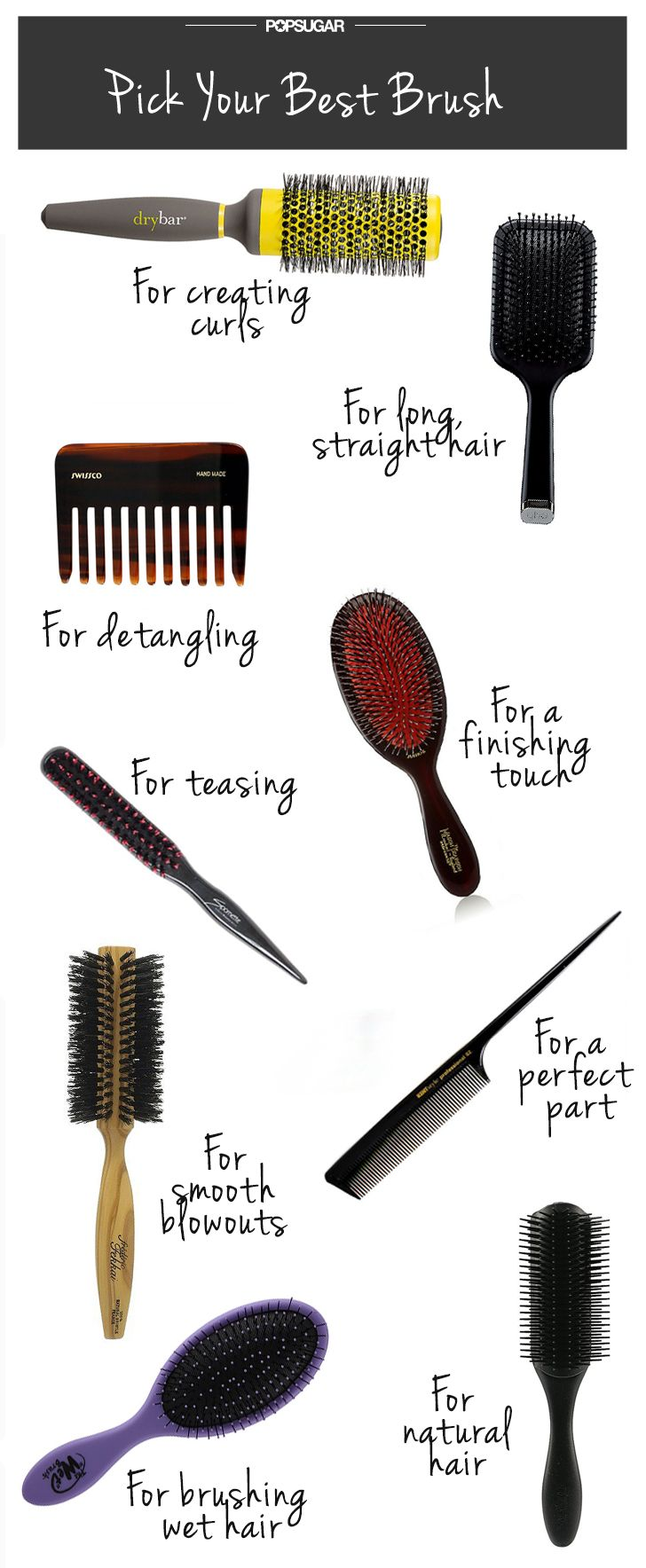 """We're featured in the """"Everything You Need to Know to Find Your Perfect Hairbrush"""" round up by PopSugar Beauty!  #drybar #thehardstuff #hair"""