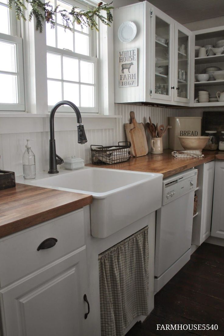 country kitchen look - wooden work surface with the cream and sage will look lovely