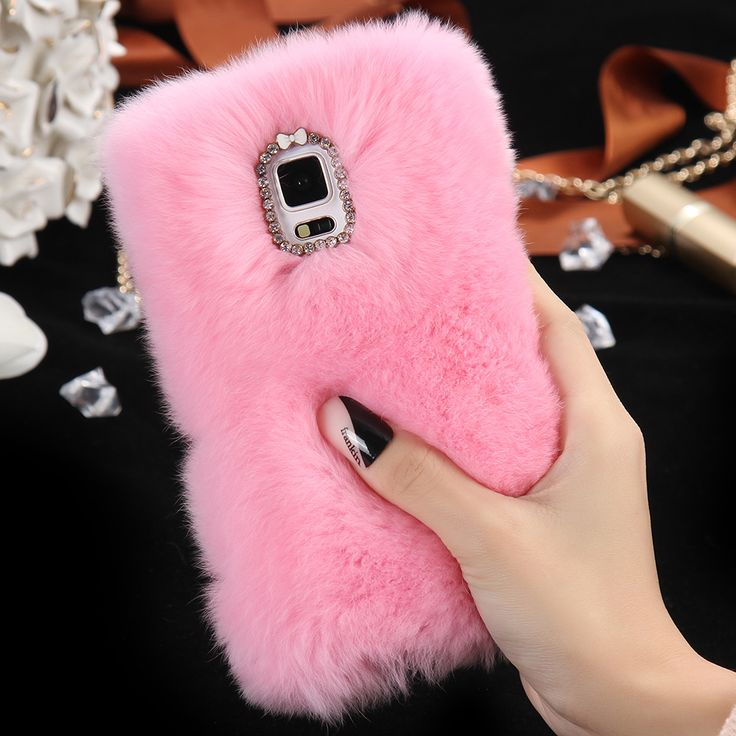 For Samsung Galaxy Note 4 N9100 Note 5 N9200 100% Real Rabbit Fur Cases Rhinestone Bling Plush Luxury Phone Cover Free Shipping