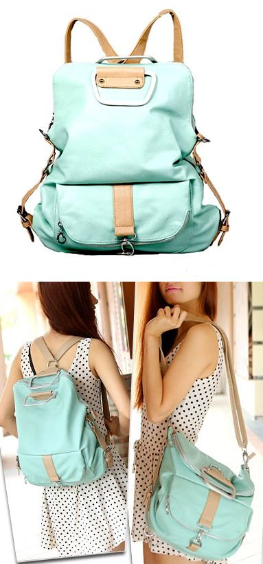 Mint backpack that converts to purse..I owned a similar bag I bought in Denver but the leather started to rip :[ http://youblue.co/