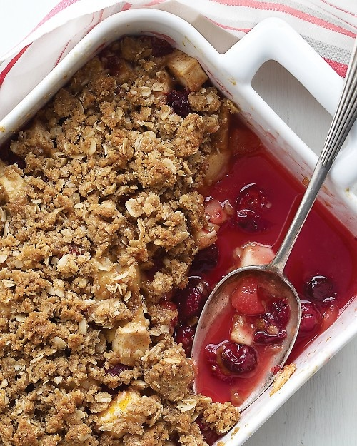 Emeril's Apple and Cranberry Crisp - Martha Stewart Recipes:  I made this tonight and it was delicious with vanilla ice cream!