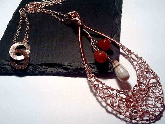 Rose Gold plated Red Agate and Brown Fire by TheFrouFrouEmporium, £50.00