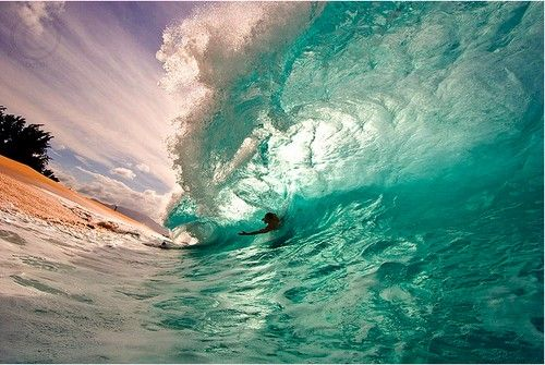 surfing on a wave, beautiful water