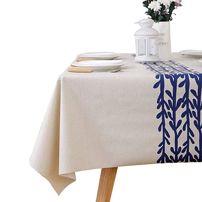 Leevan Heavy Weight Vinyl Rectangle Table Cover Wipe Clean Pvc Tablecloth Plastic Square Table Cloth Cocktail Table Decor Farmhouse Kitchen Tables Table Cloth