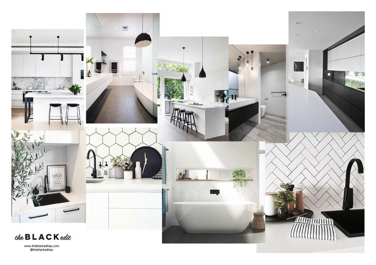 black and white e-design moodboard - interior design, australian interiors, on-trend, interior style, monochrome, black tap, black sink, herringbone tile, hexagon tile