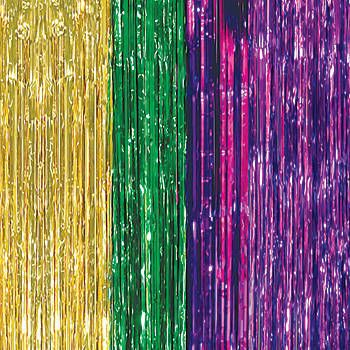 Our breathtaking Mardi Gras Foil Curtains will help you create beautiful stage presence. Each purple, green and gold metallic foil curtain measures 3 feet wide x 8 feet high.