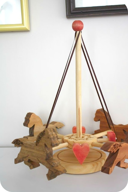 wooden Maypole Carousel - The original set with horses - and an addon Easter module, complete with adorable bunnies and eggs.