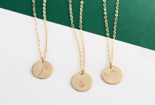 Botanical gold disc necklaces
